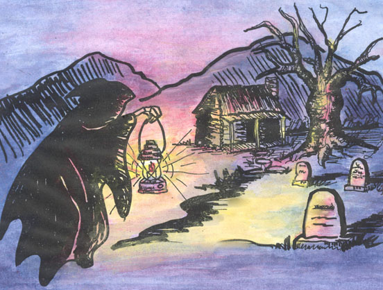 Artwork with witch carrying lantern towards cabin