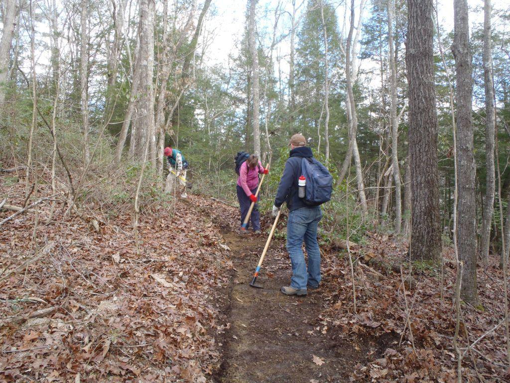 Volunteers trail work