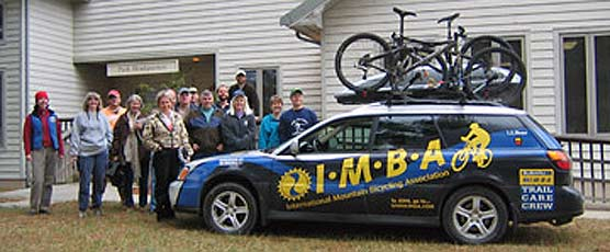 IMBA trail care crew poses infront of Big South Fork Headquarters.