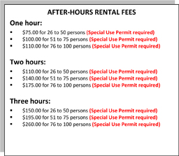 Afterhours rates for special use permits 2015