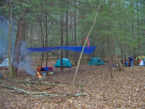 backcountry camp with tents