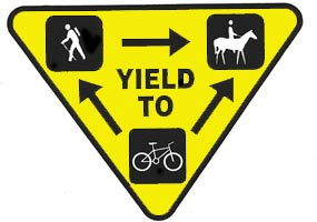 IMBA bike trail etiquette triangle