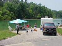 Campers and Ranger at Dale Hollow Lake.