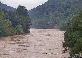 Big South Fork River in flood stage.
