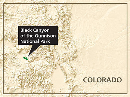 Location of Black Canyon of the Gunnison National Park in Colorado.