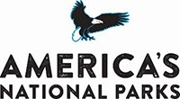 "Company logo featuring sketch of bald eagle and lettering ""America's National Parks"""