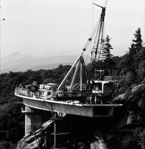 Black and white historic photo of Linn Cove Viaduct construction