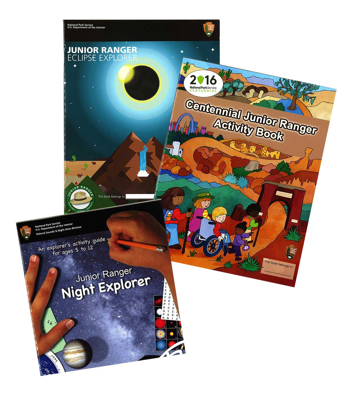 A photo of 3 junior ranger activity booklets -Night Skies, Centennial, and Solar Eclipse