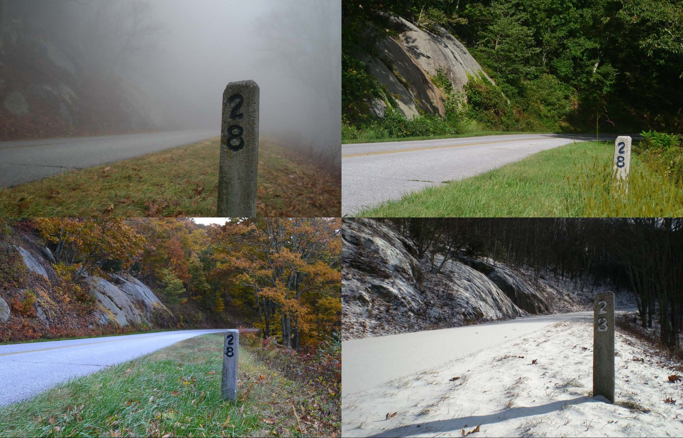 Parkway mile post 28 in the springtime fog, summer, fall and winter