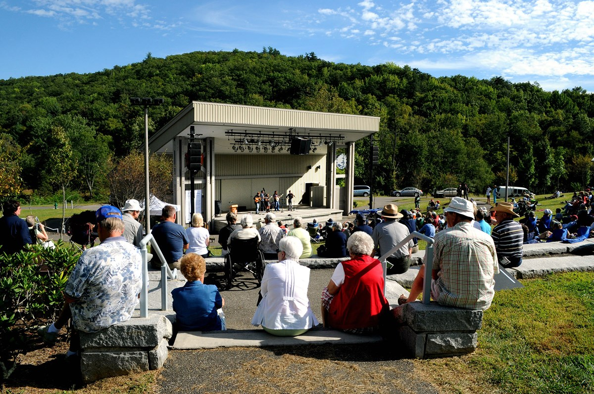 Outdoor concert at Blue Ridge Music Center amphitheater