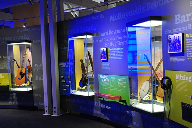 Exhibits inside the Blue Ridge Music Center