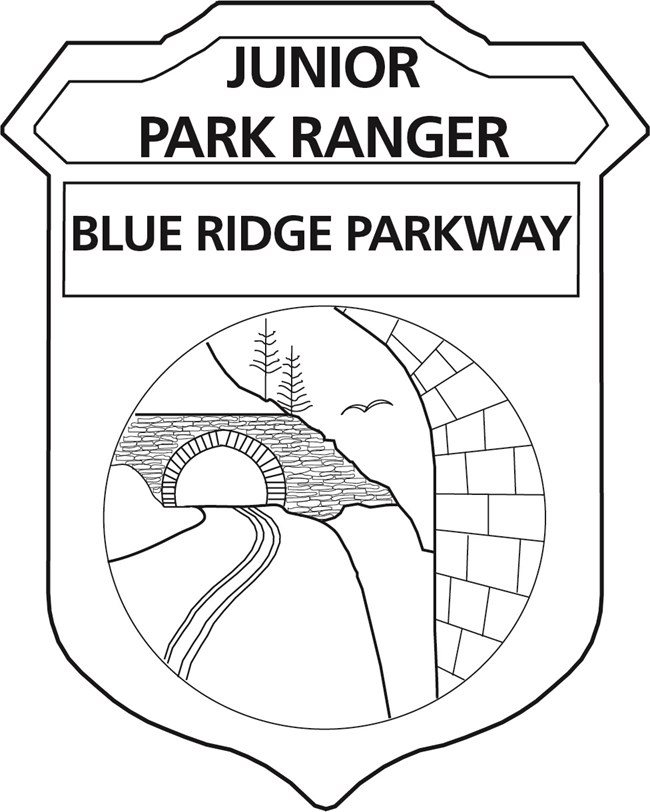 "Image is a black and white badge with the words ""Junior Park Ranger"" and "" Blue Ridge Parkway"". Badge has an illustrated image of a road winding through a rock-lined tunnel in the side of a mountain."