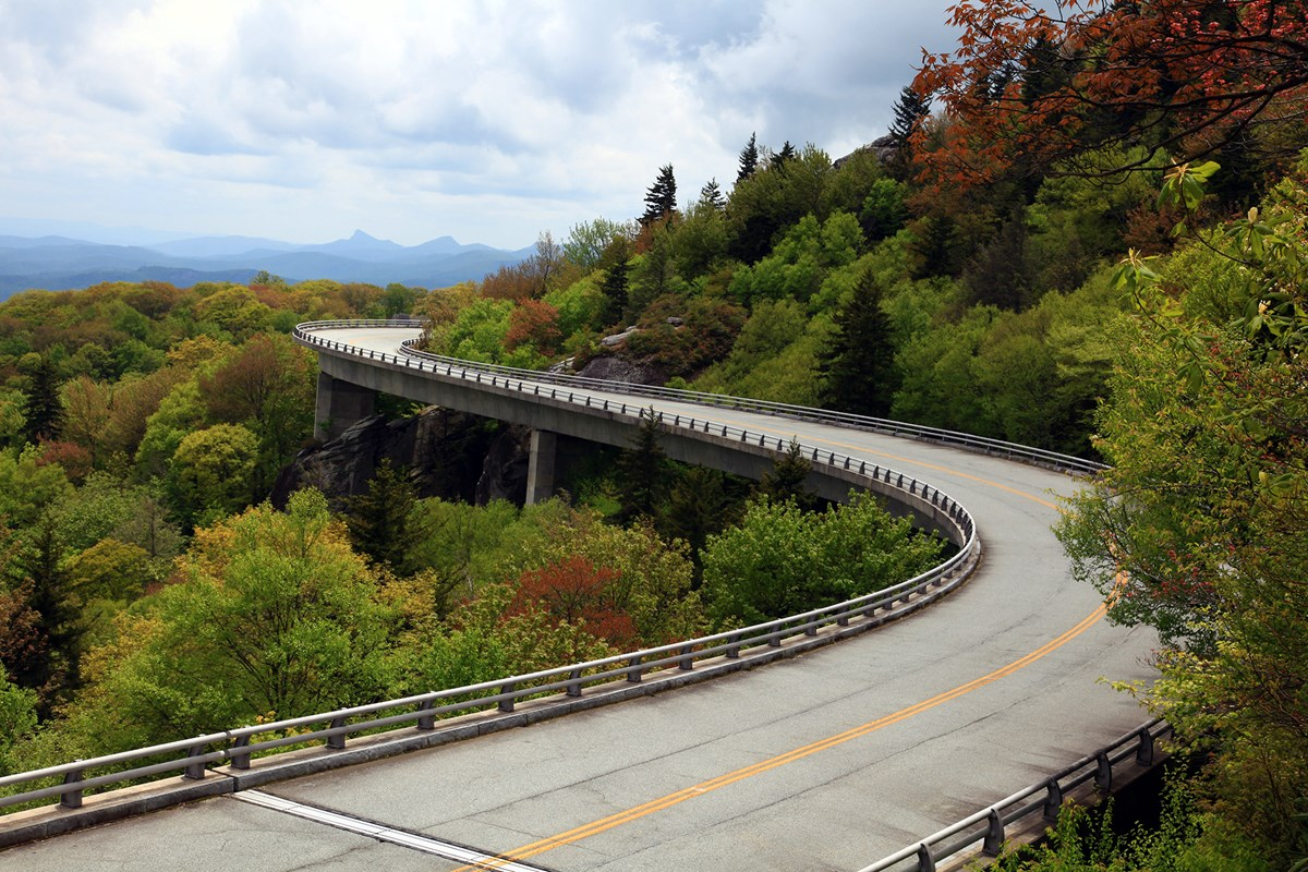 Linn Cove Viaduct surrounded by fall color