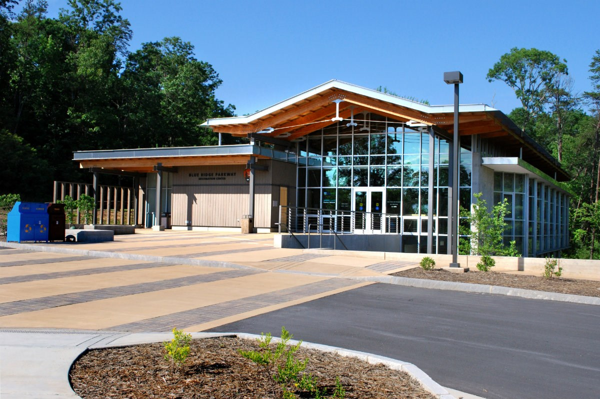 Blue Ridge Parkway visitor center near Asheville, NC, in summer.