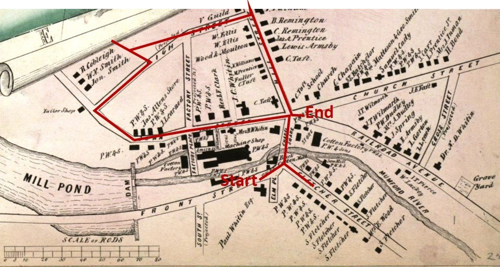 1849 Map of Whitinsville with the Walking Tour Highlighted