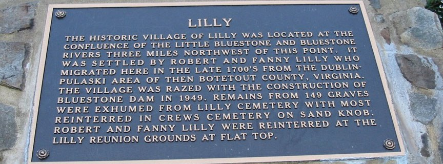 sign commemorating the Lilly townsite