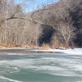 Patchy ice on the river
