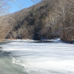 river covered with ice