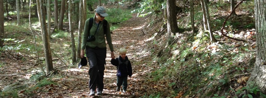 parent and child hiking