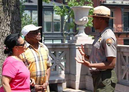 Park Ranger speaking with visitors