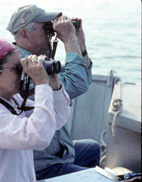 Volunteer monitors count gull and cormorant nests