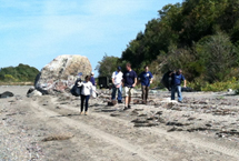 Blue Crew volunteers pick up trash off the beach