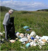 A volunteer on calf island is astounded by how much trash accumulates on the island.