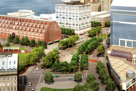 Illustration of Parcel 14 on Rose Kennedy Greenway