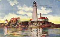 Vintage Postcard of Boston Light