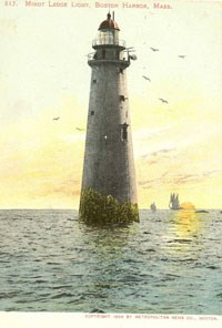 Vintage Postcard of Minots Ledge Light