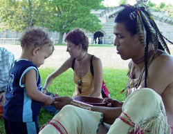 Native American and Child at Fort Warren