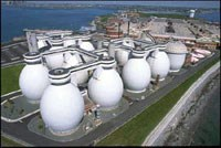 Egg-shaped sewerage digesters on Deer Island
