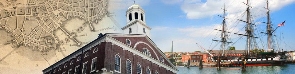 Colonial Boston Map, Faneuil Hall and the Charlestown Navy Yard skyline