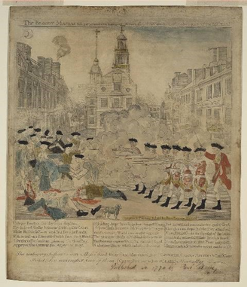 Watercolored print depicting an officer ordering seven soldiers to open fire at a crowd of colonists. A dog is in the center and some victims are bleeding on the ground.