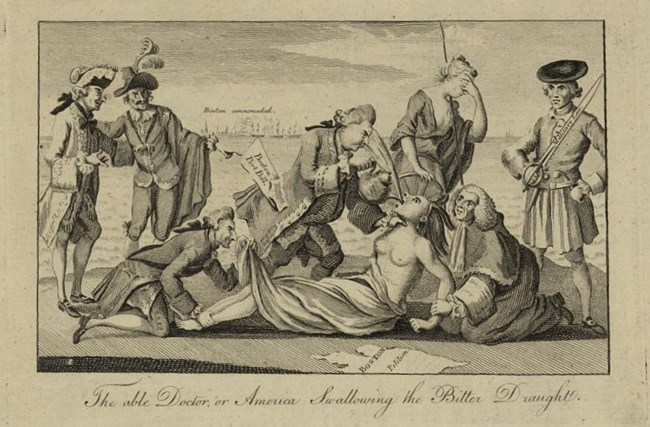 An American Indian woman representing America is being forced to drink tea by a character that is supposed to be Lord North. Another Parliamentarian figure looks up her robes while others watch or hold her down.