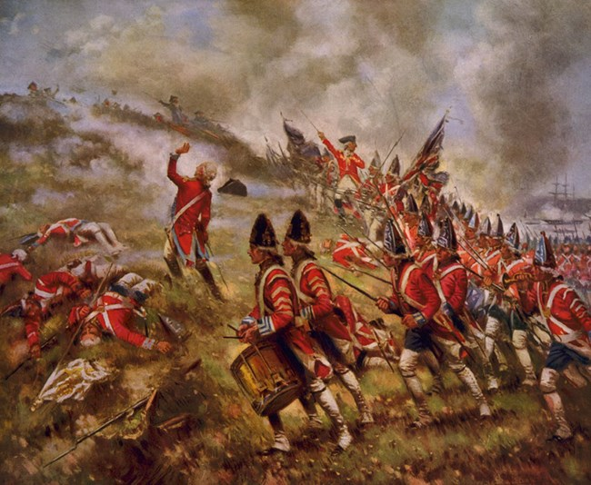 British soldiers in red coats attack up Breed's Hill in formation. Drummers and casualties are in foreground as an officer with sword leads infantry carrying muskets. Colonists are in background inside the redoubt. The sky is filled with smoke.
