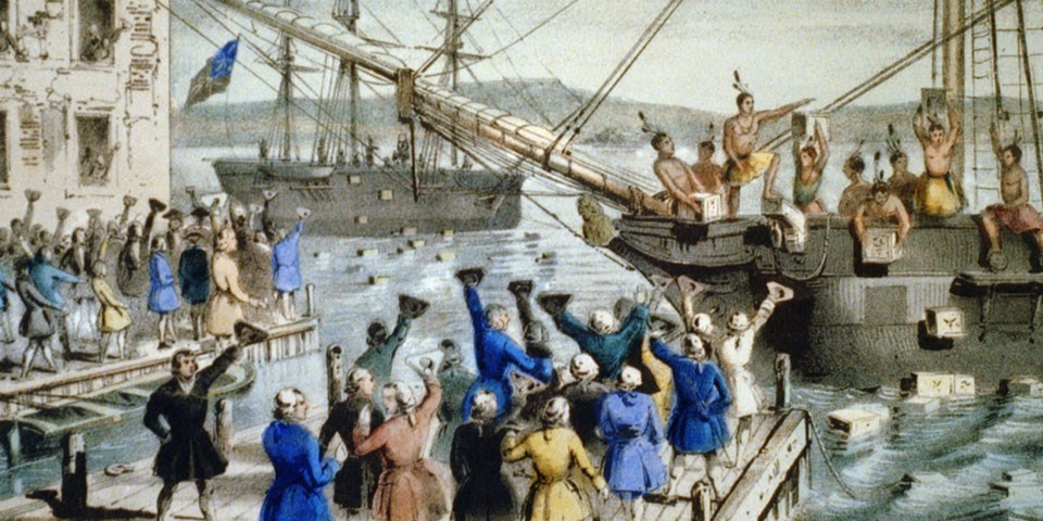 An archival lithograph depicting the Boston Tea Party