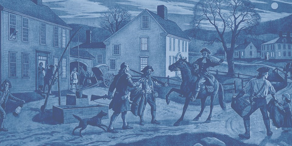 Print depicting Paul Revere riding a horse into Lexington giving alarm to the town. Buildings are shown along the road as townspeople are shown assembling in confusion.