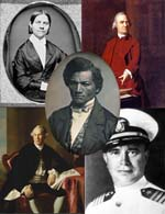 Collage of Lucy Stone, Samuel Adams, Cassin Young, Joseph Warren and Frederick Douglass