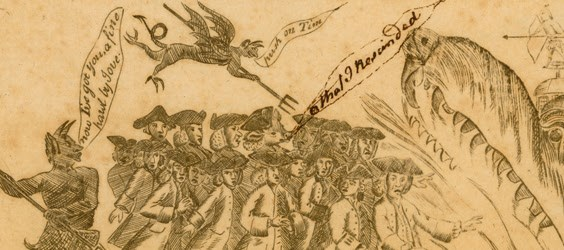 Engraving of Stamp protests