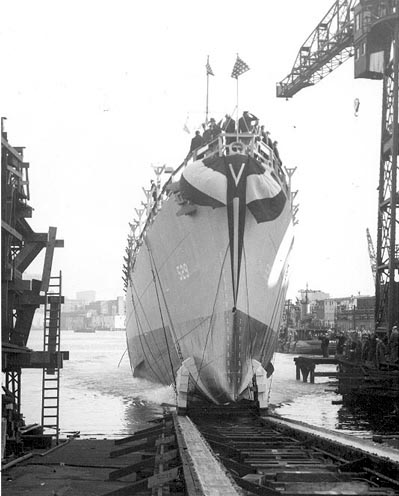 Launching or USS Mason