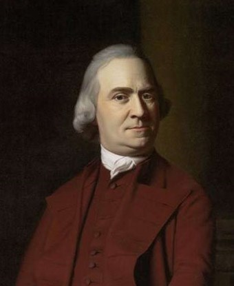 Portrait of Samuel Adams wearing a red frock coat and waistocat