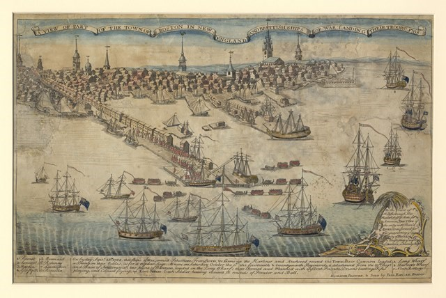 Engraving with watercoloring depicting the colonial town of Boston from the harbor. Ships are landing British soldiers on Long Wharf and marching into town.