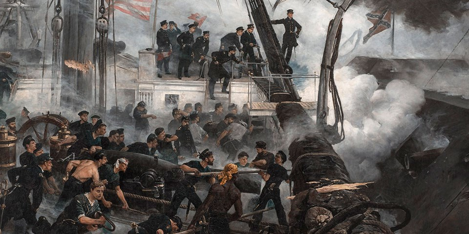 Painting of the deck of USS Hartford with crewmembers manning their cannon. A Confederate ironclad is immediately upon the ship's broadside to the right. Admiral Farragut stands on a rope shroud overlooking the carnage.