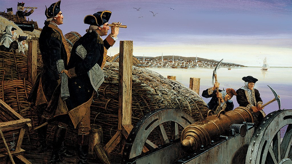 Illustration of Continental soldiers and officers in a fortification overlooking a colonial town across a harbor