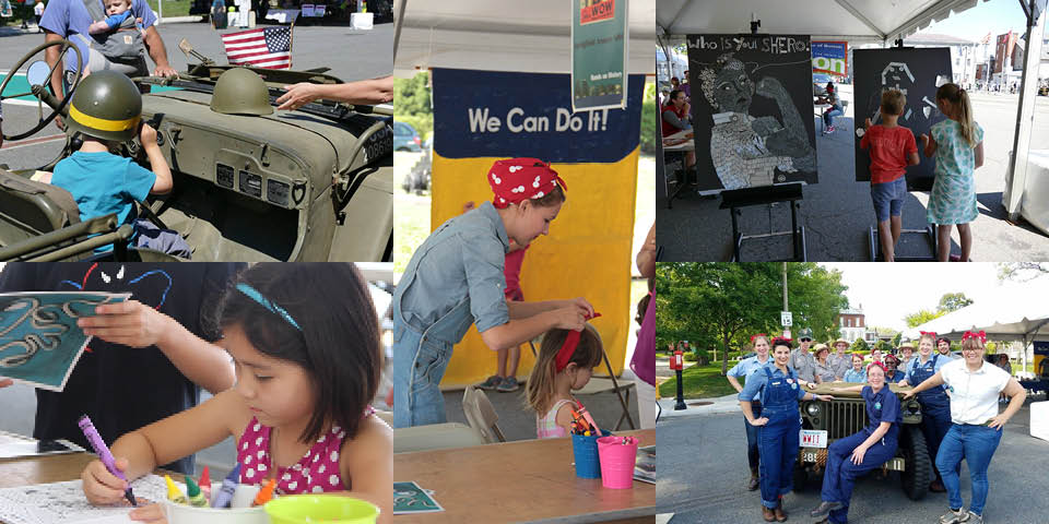 A Collage of five photographs. Left top: Boy sits in jeep. Left bottom: Girl colors at table. Center: Woman ties red bandanna on child. Top right: children at easels. Bottom right: Costumed workers at jeep.