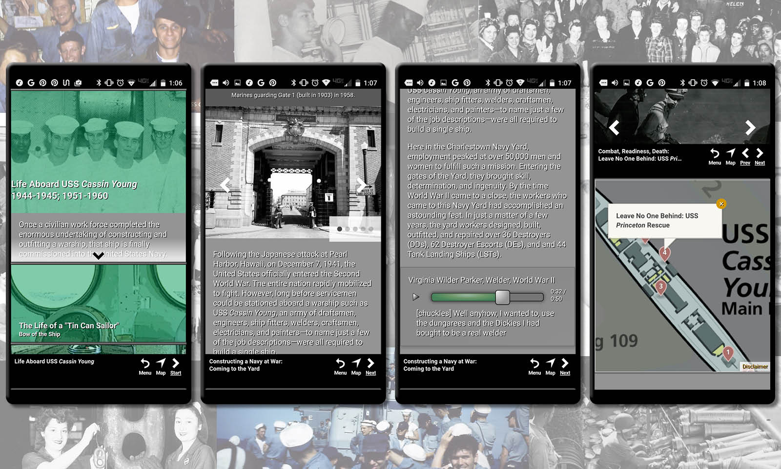 Collection of archival images from the app with four screen shots of the app in use.