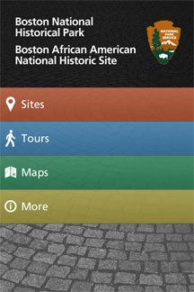 Boston National Historical Park App opening page