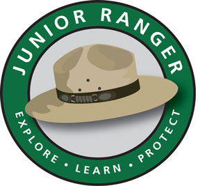 Junior Ranger Logo with motto - Explore, Learn, Protect