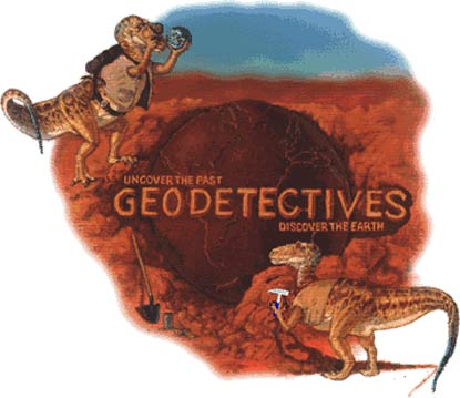 Main geodetective image depicting two dinosaurs studying the geoology of Bryce Canyon